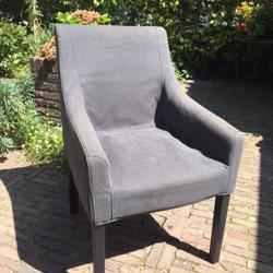 3 Ikea 'Sakarias' stoelen bekleed met donkergrijze stof