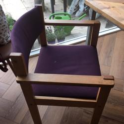 Eetkamerstoelen hout paarse bekleding 6x
