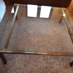 Glazen vierkante salontafel met messing onderstel