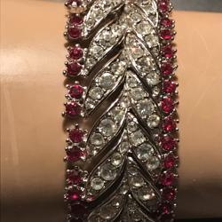 Vintage armband rood wit