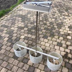 Plafondlamp metaal met 3 stoffen lampenkappen