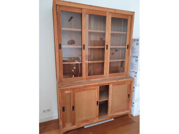 Teak houten vitrine kast