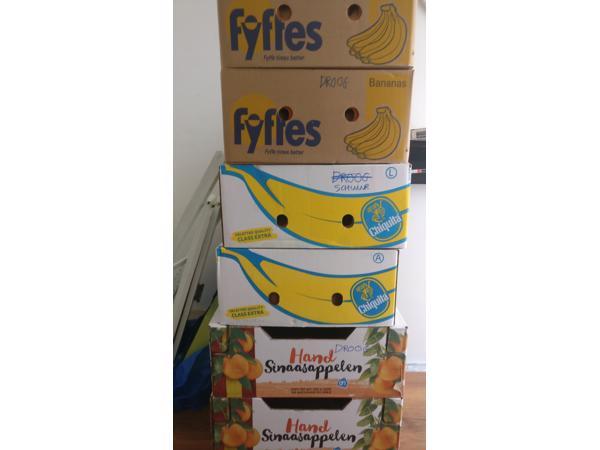 Bananen en sinaasappeldozen