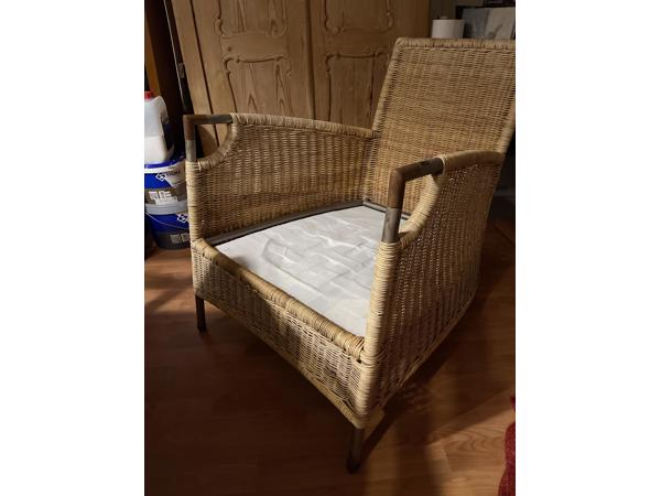2x heerlijk zitten fauteuil  rotan met staal frame