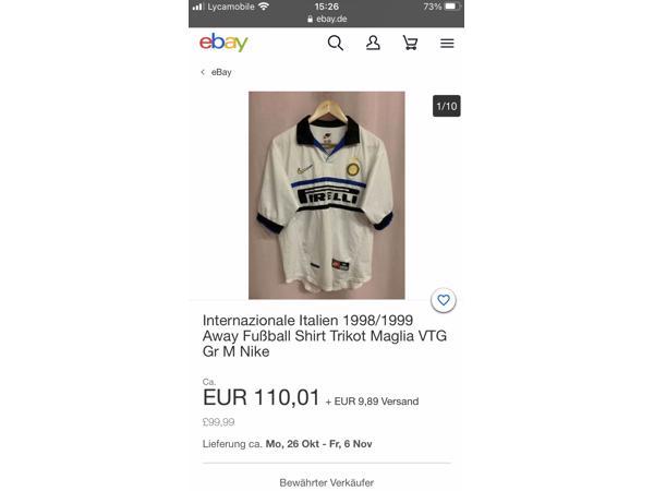 ORIGINELE T-shirt=Inter-Milan,(uit-shirt), uit seizoen 98/99