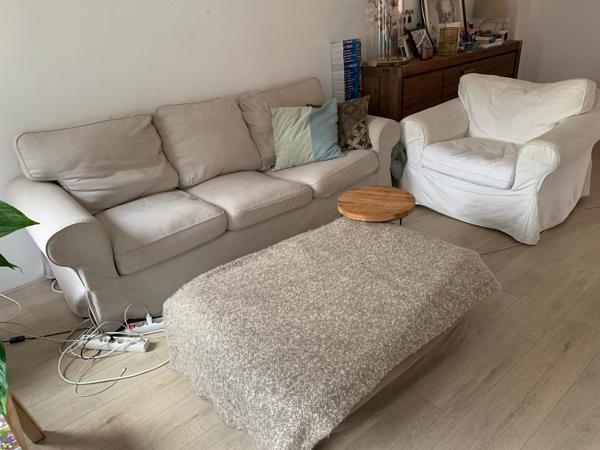 Bank + stoel (ektrop Ikea) + hocker
